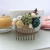A Shabby Chic Green, Rustic, Green Rose, Copper Leaf, Vintage Style Collage Hair Comb