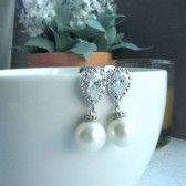 White Shell Pearl, Cubic Zirconia Earrings