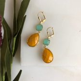 Sweet Mustard and Aqua Drop Earrings