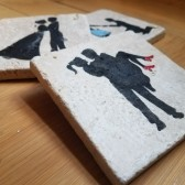 Custom Hand Stenciled and Embellished Coaster Favors Stone Coasters Ceramic Coasters