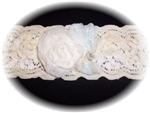 Ivory Light Blue Lace Garter