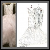 Wedding Dress, Suit & Flower Girl Sketch