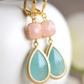 Mint and Peach Jade Earrings.