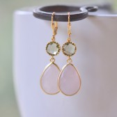 Pink and Grey Bridesmaid Earrings