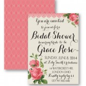 Grace – Vintage Shabby Chic Rose Floral Bridal Shower Invitation