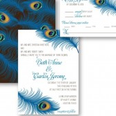Peacock wedding invitation glamorous – Beth Collection