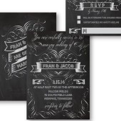 Fran Vintage Flourish Chalkboard Wedding Invitation