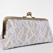 linen & lace custom clutch