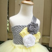 yellow and grey flower girl dress