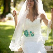 Bridal Sash / Custom Made Belt in Tiffany Green, Cream, Ivory, Champagne with Brooches, Glass Beads and Handmade Flowers
