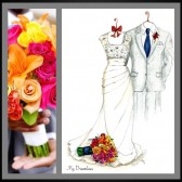 Wedding Dress, Suit & Bouquet Sketch