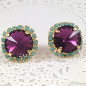 Amethyst Turquoise Rhinestone Gold Stud Earrings