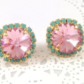Rose Pink Turquoise Rhinestone Stud Earrings