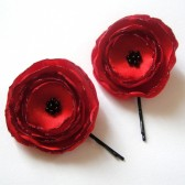 ruby red poppy rose blossom flower hair pins (set of 2)