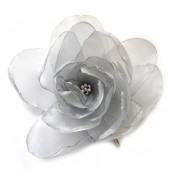 ice silver big rose blossom flower bobby pin
