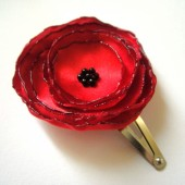 red poppy rose blossom flower hair snap clips (2 pieces)