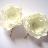 cream white peony blossom wedding flower hair pin