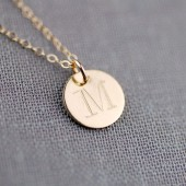 Personalized Initial Necklace in Solid 14K Gold