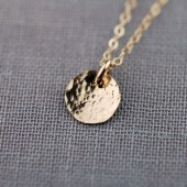 Solid 14K Gold Textured Necklace