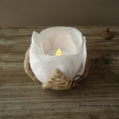 Rustic flower led candle holder