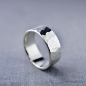 Men's 8mm Textured Sterling Silver Band
