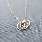 Three Ring 14K Gold Necklace