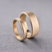 His & Her Wedding Bands - 3mm & 6mm 14K Gold Bands