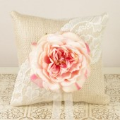Rustic Ring Bearer Pillow with Pink English Garden Rose