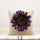 Rustic Ring Bearer Pillow with Purple Sunflower