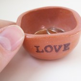 love ring dish in red earthenware ceramic