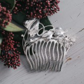 Sterling silver bridal hair comb with lime-blossom
