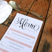 Elegant Pink and Gold Tea-Length Wedding Menus