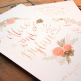 Printable Coral Pink & Gold Floral Watercolor Wedding Programs