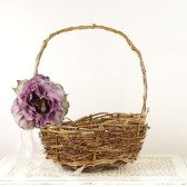 Rustic Flower Girl Basket with Purple Peony