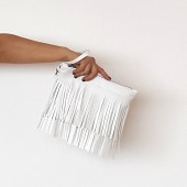White vegan leather fringe clutch