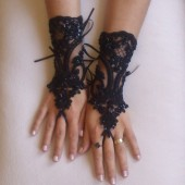 Free delivery Beaded goth gothic lace black Wedding gloves, Party gloves, bridal gloves fingerless gloves french lace vampire