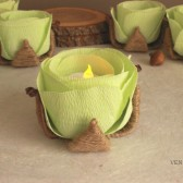 Rustic flower LED tea light holders