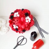 Red, black and white paper bouquet