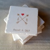 Personalized Crossed Arrow Wedding Favor Coasters