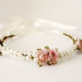 Pearl and Pink Bridal headpiece