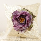 Burlap and Lace Ring Bearer Pillow with Purple Peony