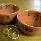 Custom wedding ring dishes MR and MR with wedding date