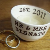 Personalized Wedding Candle Holder or ring dish