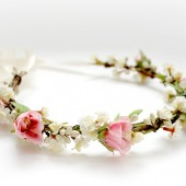 Ivory and Pink Blossoms Hair Crown