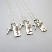 Personalized Initial Necklace with Cross Charm and Pearl