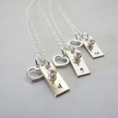 Personalized Initial Necklace with Heart Charm and Pearl