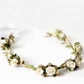 White Gold Rose Floral Crown