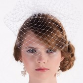 Birdcage veil for bride, white blusher veil, wedding hair accessory, french veiling, bridal birdcage blusher