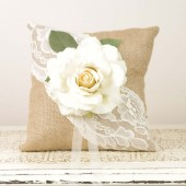 Burlap and Lace Ring Bearer Pillow with Ivory Rose
