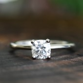 14k gold cushion cut moissanite ring